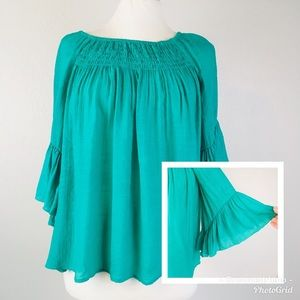 Chico's Bell Sleeve Boho Green Blouse Size 1
